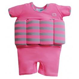 Bañador con flotador rosa c/raya gruesa