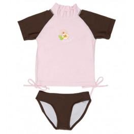 Camiseta y braguita marrón/rosa